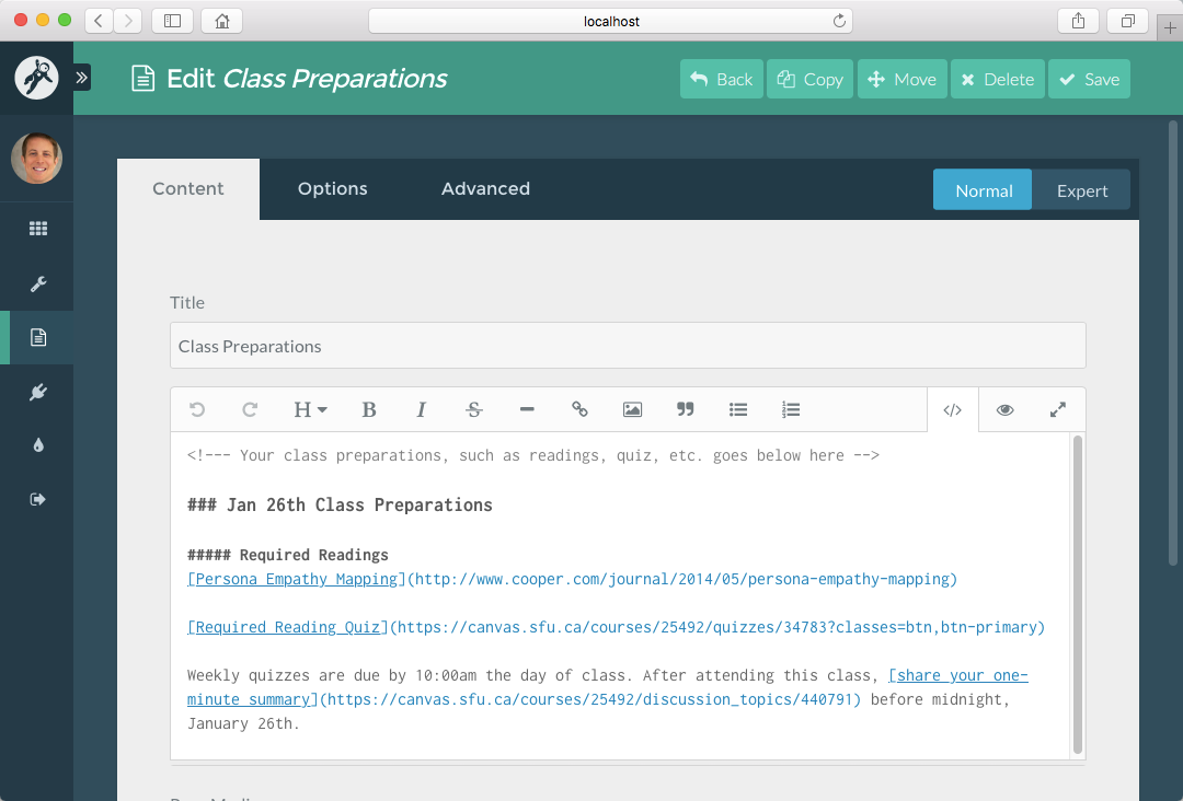 Course Hub **Class Preparations** page in Admin Panel