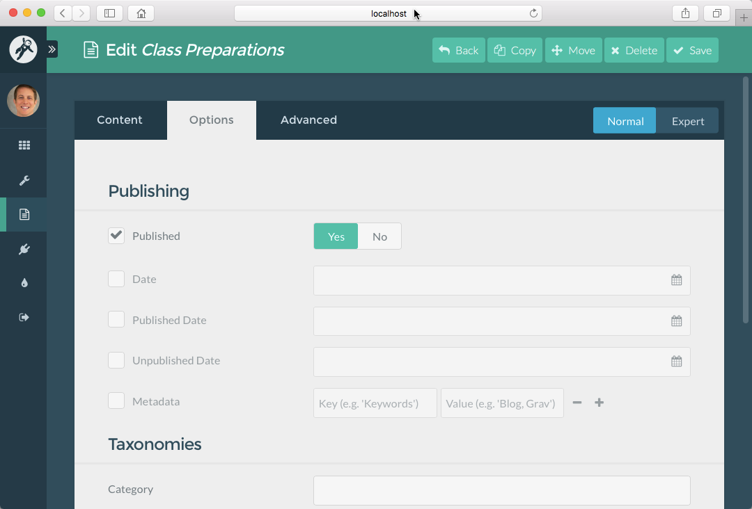 Course Hub **Class Preparations** page **Published** option in the Admin Panel
