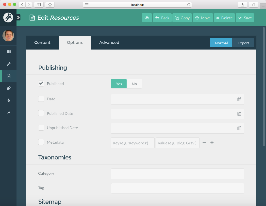 Course Hub **Resources** page options in the Admin Panel