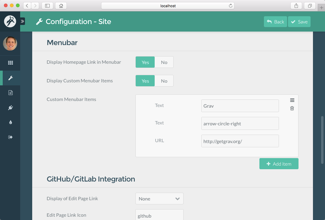 Course Hub **Menubar** items on **Configuration - Site** Admin Panel page